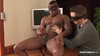 black bodybuilder stroking his huge erection