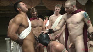 gladiators punish criminal in gang bang