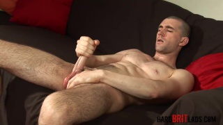 hung stud with freshly shaved head jacking off