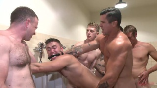horny cruisers gang fuck leo sweetwood in toilet