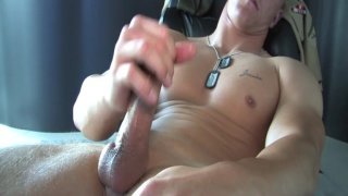 marine dane gets naked and jacks off