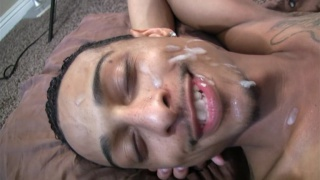 latino guy gets fucked and face creamed