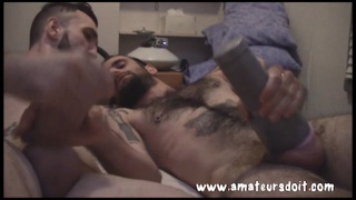Tatted Straight Guy Sucks his first cock