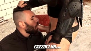 tearing up german's hole with huge dildo