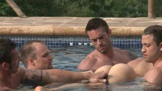 5 naked hunks in an outdoor pool