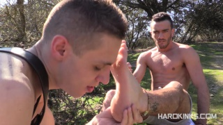 foot-licking lad trained outdoors on