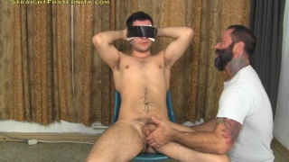 uncut guy blindfolded and gets handjob