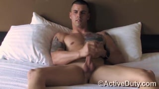 cute military stud beating off