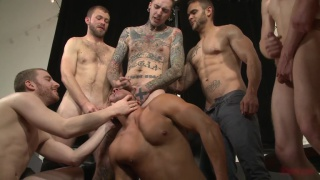 horny dudes gang fucking pretty boy's ass