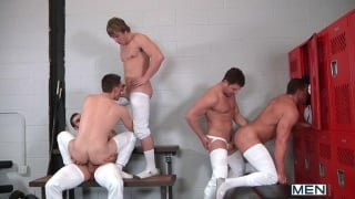 hockey team group fucking in locker room