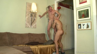 sexy bald euro studs fucking on casting couch