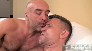 bald daddy barebacks hung bottom's ass