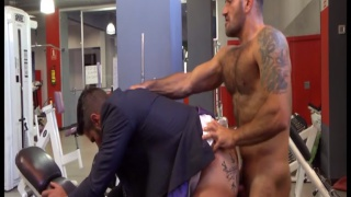 hairy italian top fucks businessman in gym