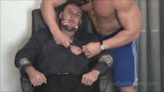 manhandling a bound bodybuilder james revel