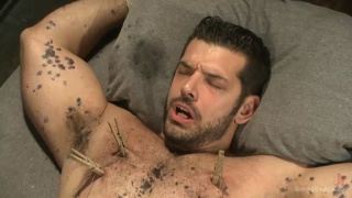 hairy hunk tied up and used in dungeon