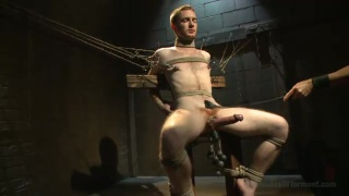 ginger sub tied up and used in dungeon