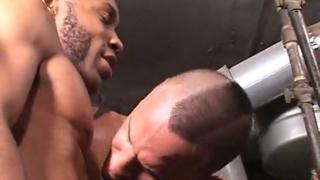 black barebackers fuck in boiler room