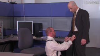 hairy daddies in suits fuck at the office
