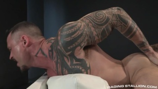 blond hunk pounds tattooed bottom