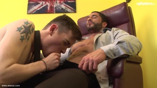 young lad services muscle daddy's dick
