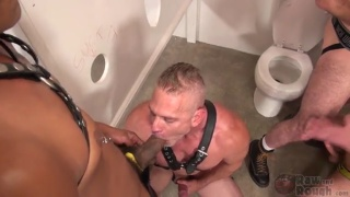 piss pig gets gang banged in the toilet