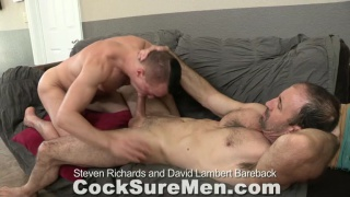 young stud rides older man's bare cock