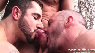 3 Masculine Men in Outdoor Threeway