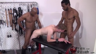 Black Tops Fuck their Slave While 2 More Wait