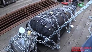 sub gets extreme bondage with chains