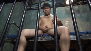 chubby japanese guy jacking off in jail