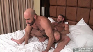 bald daddy riding muscle hunk raw cock