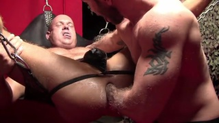 filthy cock-hungry bottom in leather sling