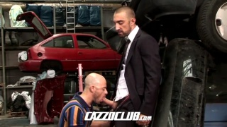 top in suit fucking hitchhiker in garage