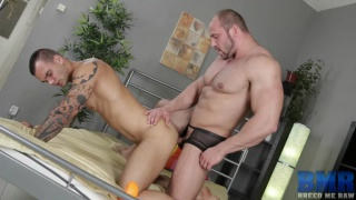 massive bodybuilder pounding bare hole