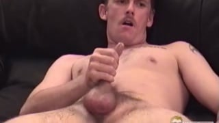 handsome guy with moustache wanking off