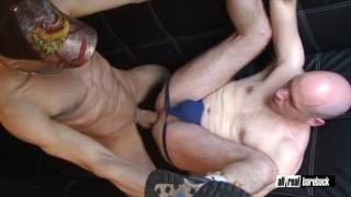 bald bottom gets stud's bare cock