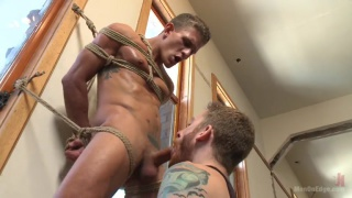 german hunk tied up and cock edged