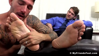 johnny hazzard licks colby keller's big bare feet