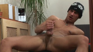 stud in tuque jacking his big dick