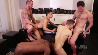 pedro andreas leads 5-guys in bareback orgy