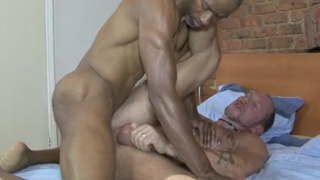 muscle daddy takes black top's raw load