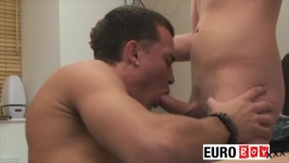 2 big uncut cocks, 2 heavy cummers