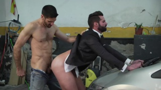 handsome business man gets fucked by mechanic