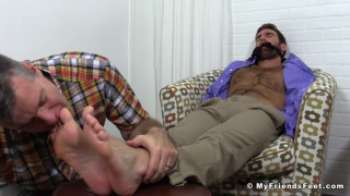 chase in his work clothes and getting a foot worship