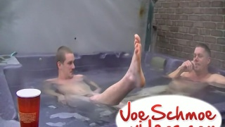 two men get dirty in a hot tub