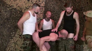 after a piss break, soldiers gang bang their sergeant