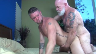 bearded silver daddy fucks his boy toy