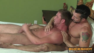 two men wake up with morning wood