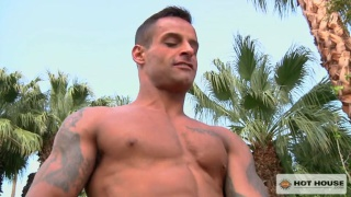 mitch vaughn fucks newcomer david benjamin poolside