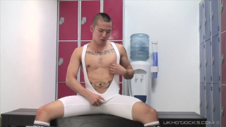 sexy japanese jock sits on a dildo